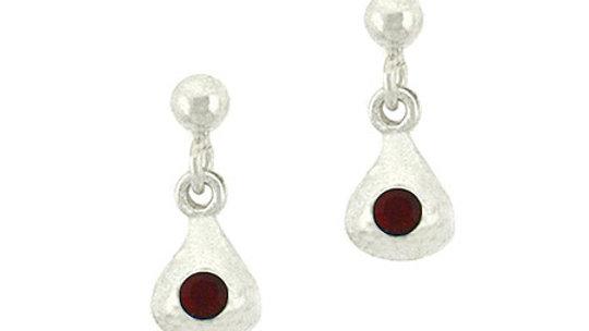 Sterling Silver Red Rhinestone Teardrop Mini Dangle Earrings