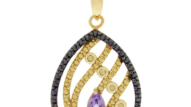 18K Gold over Sterling Silver Amethyst & Black Diamond Accent Teardrop Pendant