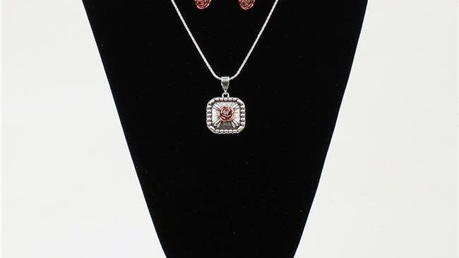 Blazin Roxx 29084 Chain Rose Pendant Jewellery Set