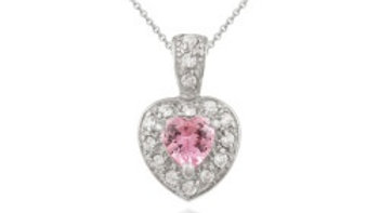 Sterling Silver Pink and Simulated Diamond CZ Heart Pendant