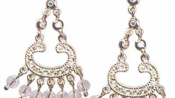 18K Gold over Sterling Silver Pink & Clear CZ Beads Chandelier Earrings