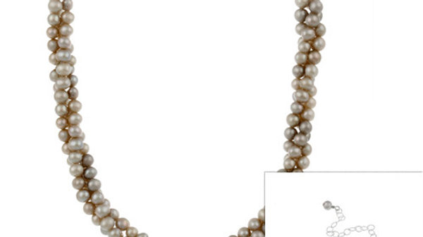 Sterling Silver Freshwater Cultered Grey Pearl Three Row Twisted Necklace