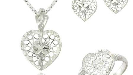 Sterling Silver Filigree Heart Pendant Necklace, Stud Earrings, Ring Jewelry Set