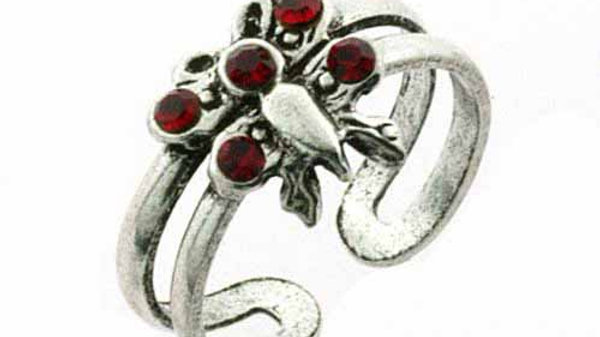Sterling Silver Red CZ Butterfly Toe Ring