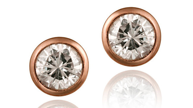 18K Rose Gold over Sterling Silver CZ Bezel Set Martini Set Stud Earrings, 6mm