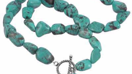 Sterling Silver Turquoise Chip Necklace