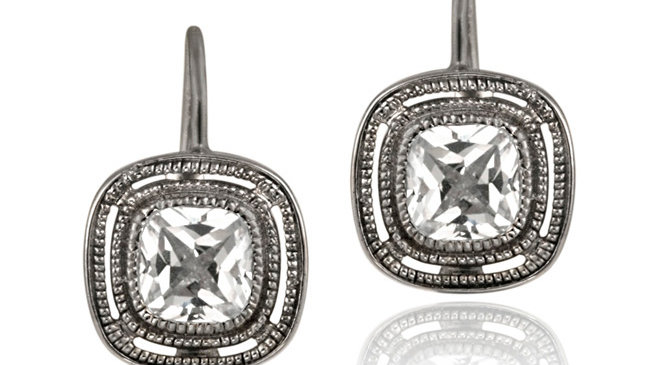 Black Rhodium Overlay Sterling Silver CZ Square Leverback Earrings