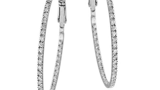 Sterling Silver 45mm Inside Out CZ Hoop Earrings