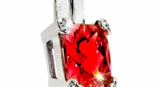 Sterling Silver Red CZ and Simulated Diamond CZ Square Heart Pendant