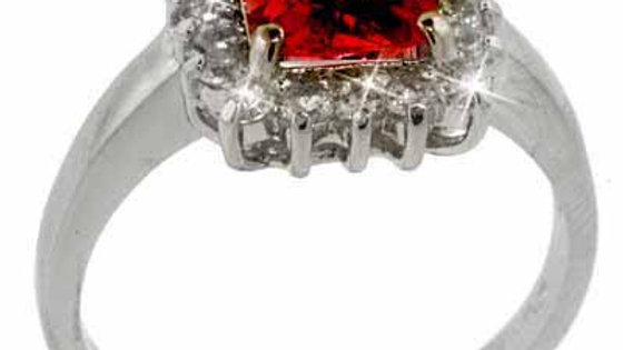 Sterling Silver Red and Simulated Diamond CZ Ring