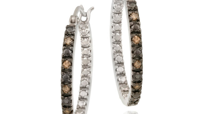 Sterling Silver .10ct. TDW Champagne Diamond Inside-Out 20mm Hoop Earrings