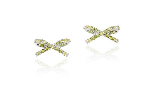 Sterling Silver Olive Green CZ Bow Stud Earrings
