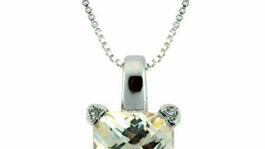 Sterling Silver Light Yellow CZ and Simulated Diamond CZ Square Heart Pendant