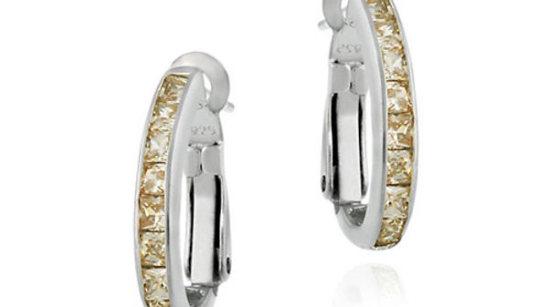 Sterling Silver Champagne CZ Oval Hoop Earrings