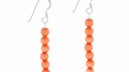 Sterling Silver Orange Cats Eye Beaded Dangle Earrings
