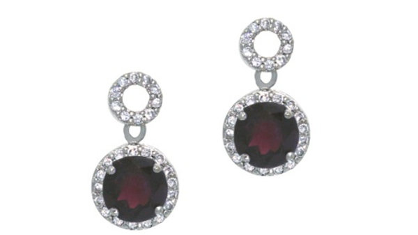 Sterling Silver 3.3 CT. Garnet and CZ Circle Dangle Earrings