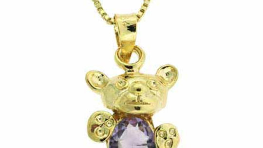 18K Gold over Sterling Silver 1.05ct Amethyst Teddy Bear Necklace