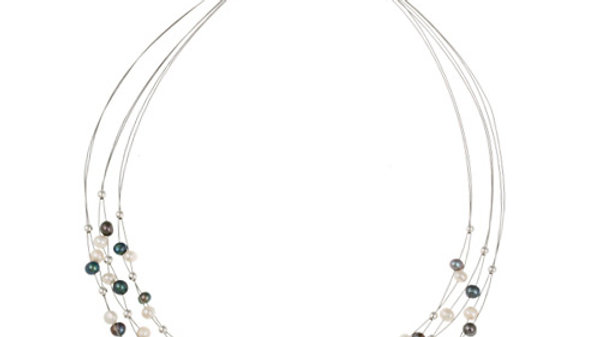 Silver Freshwater Cult. White and Peacock Pearl & Bead 3-Row Graduating Necklace