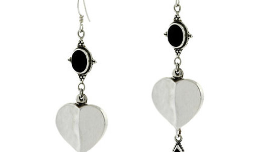 Silver Bali Bead Bezel Genuine Onyx Stone Heart Dangle Teardrop Oval Earrings