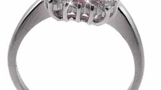 Sterling Silver Square Pink CZ and Clear CZ Border Ring Size 7