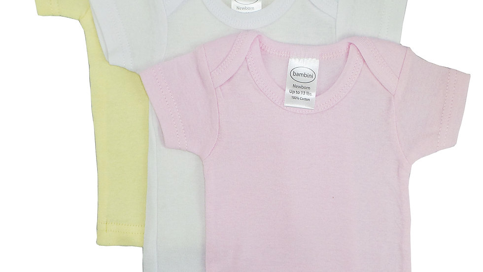 Bambini Girls Pastel Variety Short Sleeve Lap T-shirts - 3 Pack