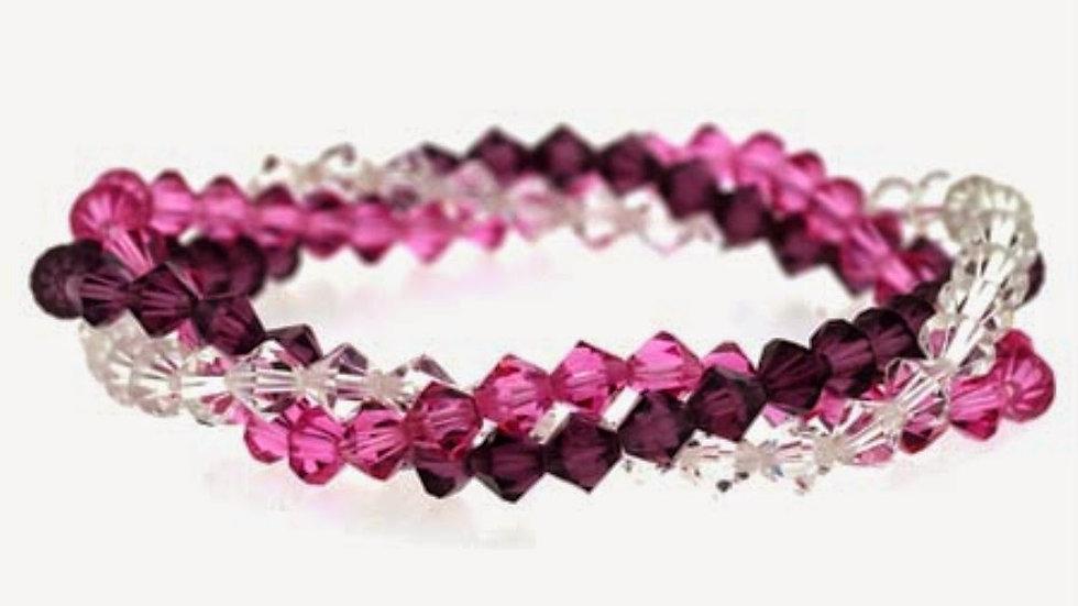 Multi Color Swarovski Elements Three Strand Bracelet