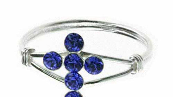 Sterling Silver Blue CZ Cross Junior Ring Size 5