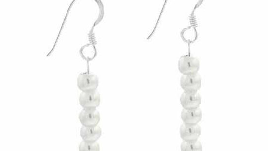 Sterling Silver 4mm Simulated White Pearl Dangle Earrings