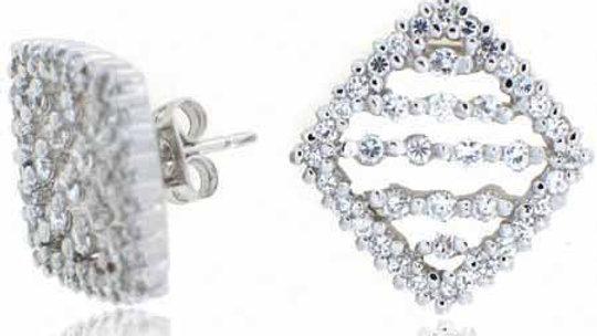Sterling Silver Simulated Diamond CZ Diamond Earrings