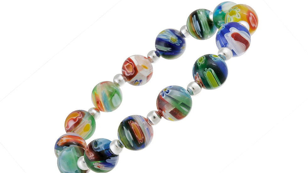 Sterling Silver Venetian Murano Glass Beaded Millefiori Flower Stretch Bracelet