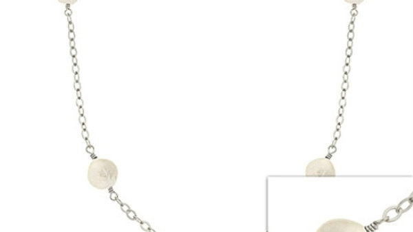 Silver Iridescent  Freshwater cult. Round White Coin Pearl leaf link  Necklace