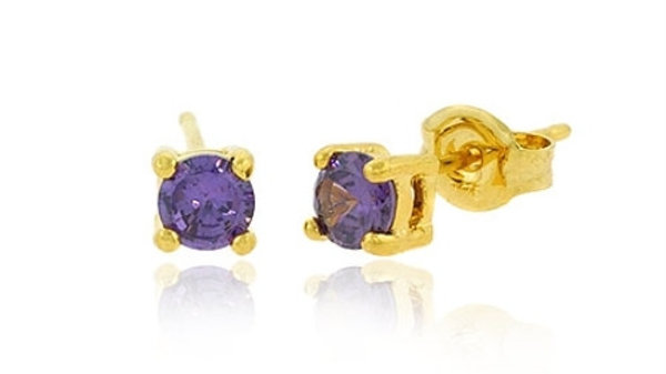 18K Gold over Sterling Silver Purple CZ 4mm Round Stud Earrings