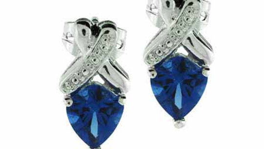 Sterling Silver Simulated Tanzanite CZ X Earrings