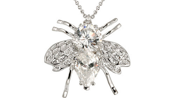 Sterling Silver Simulated Diamond CZ Bee Pin