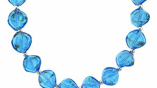 Sterling Silver Two Tone Aqua Blue Glass Twisted Foil Bead Glitter Necklace