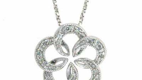 "Sterling Silver CZ Open Flower Pendant Necklace 18"""