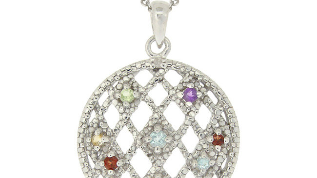 Sterling Silver Multi Gemstones & Diamond Accent Weave Pattern Circle Pendant