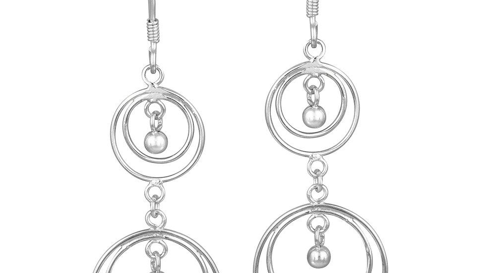 Sterling Silver Hoop Within A Hoop Bead Earrings