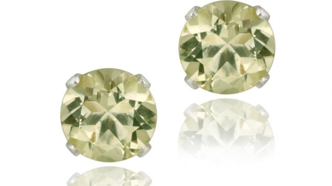 Sterling Silver 1/2ct Lime Quartz Stud Earrings, 4mm