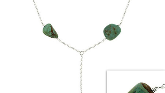 Sterling Silver Genuine Green Turquoise Stone Chain Y Necklace