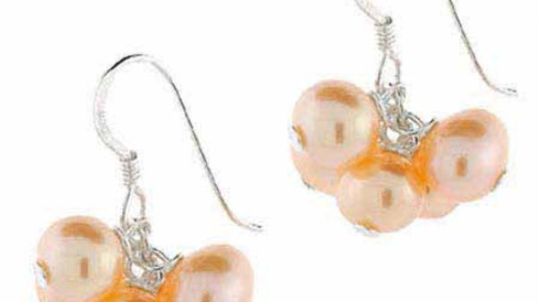 Sterling Silver Peach Freshwater Cultured Pearl Cluster Earrings