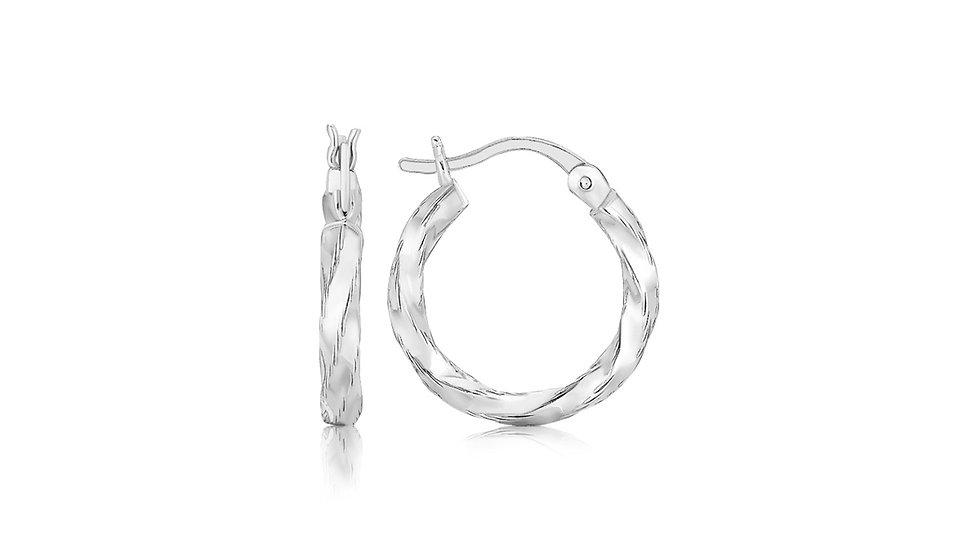 Sterling Silver Polished Twist Design Hoop Earrings