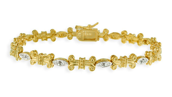 18K Gold over Silver Diamond Accent Open Scroll and Marquise Link Bracelet