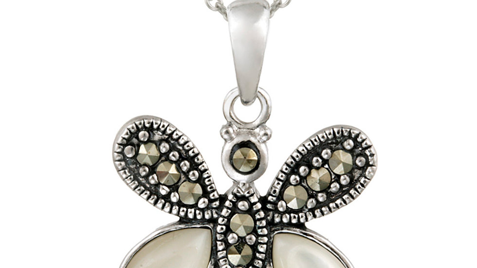 Sterling Silver Marcasite & Mother of Pearl Butterfly Pendant