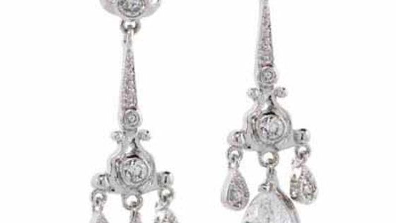 Sterling Silver CZ Filigree Chandelier Earrings