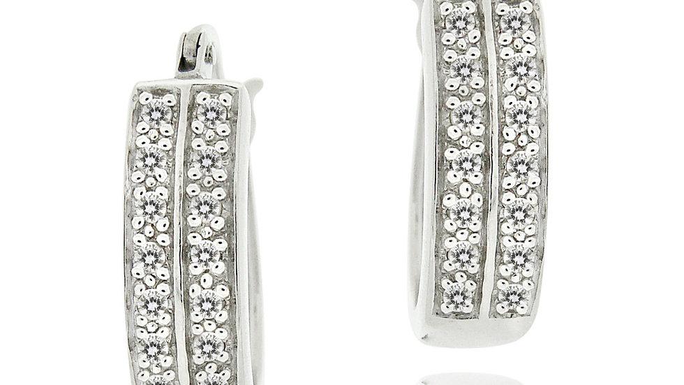 Sterling Silver 1/4ct Diamond 18mm Oval Hoop Earring