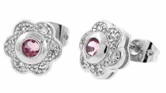 Sterling Silver Pink & White CZ Flower Stud Earrings