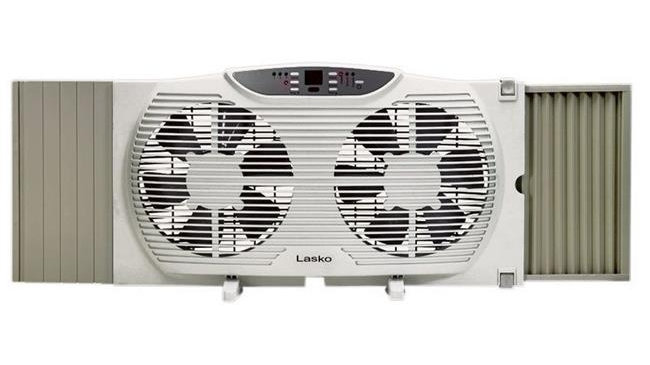 Lasko Products  9 in. 3 Speed Electric  Reversible Twin Window Fan