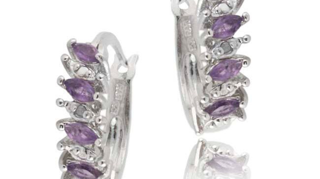 Sterling Silver Amethyst Stone Marquise Cut Genuine Diamond Accent Hoop Earrings