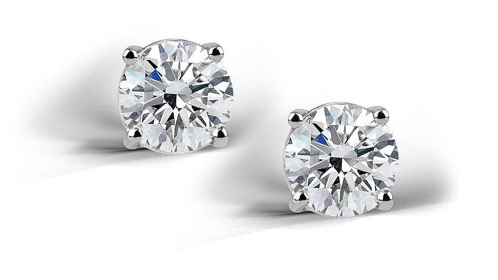 Sterling Silver 2 Ct CZ Stud Earrings